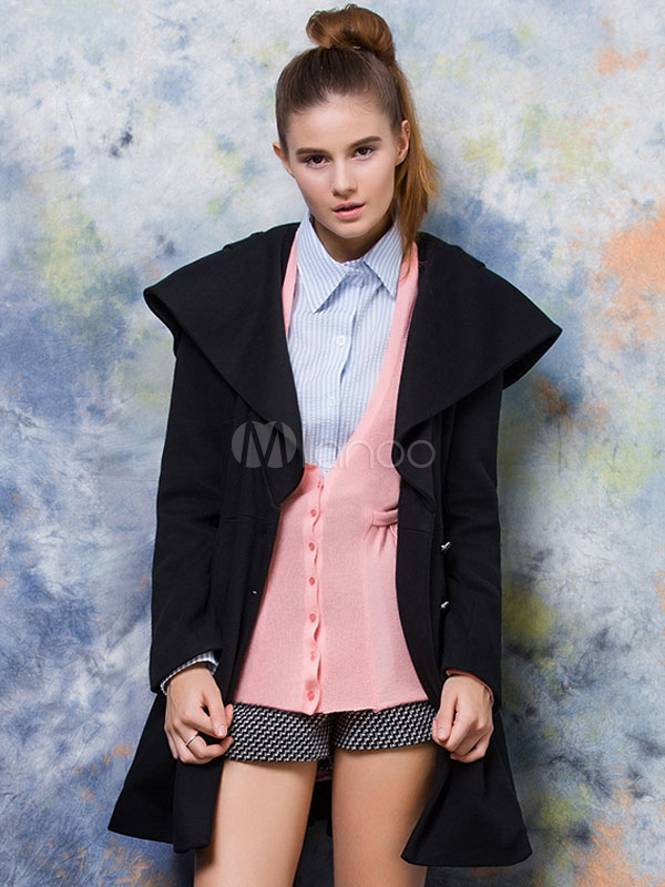 Buy Black Pea Coat Hooded Long Sleeve Double Breasted Women's Long Coat for $47.49 in Milanoo store