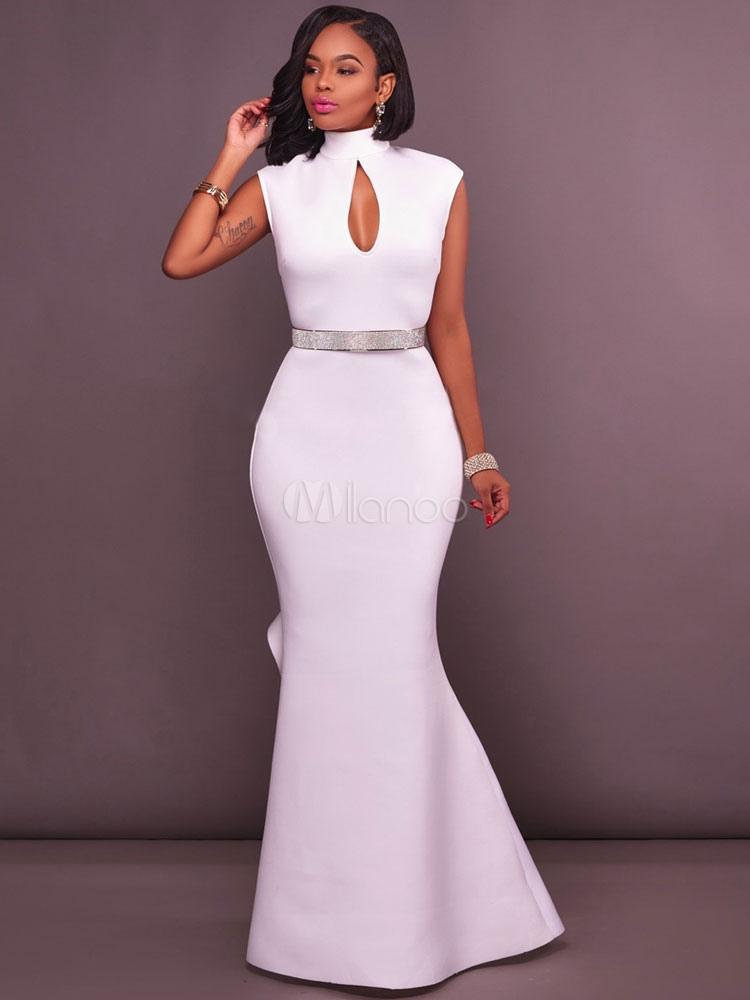 Vestido Largo Blanco Con Escote Alto Color Liso Con Diseño Hueco Sin Mangas Elegante