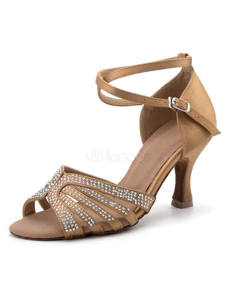 Zapatos de bailes latinos de puntera redonda Tacón bobina Tela-brillantes negros para baile 2iZ7q1U