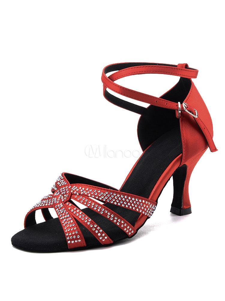 cad03834 Zapatos de bailes latinos de puntera abierta Tacón bobina de satén con  pedrería para baile t3U3o7JL