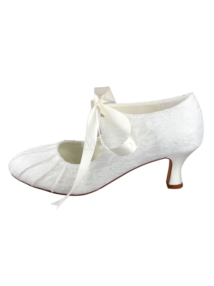 ef78c489f Zapatos Tacón bobina de puntera redonda de seda sintética de marfil  elegantes Fiesta de bodas