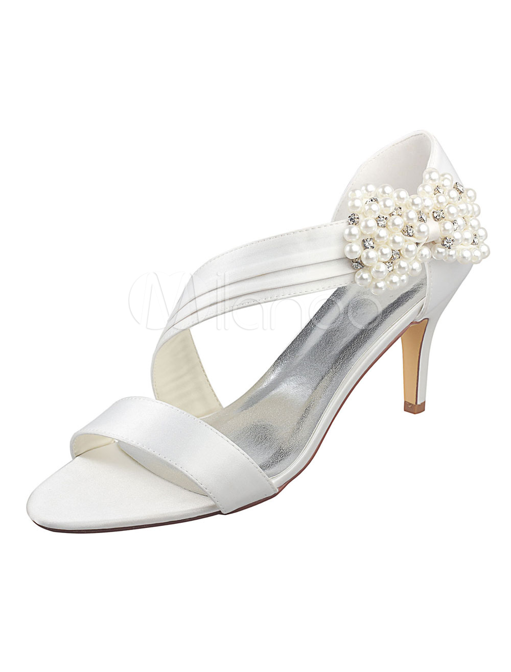 Ivory Wedding Shoes Open Toe Pearls Imitated Silk Stiletto Bridal Shoes