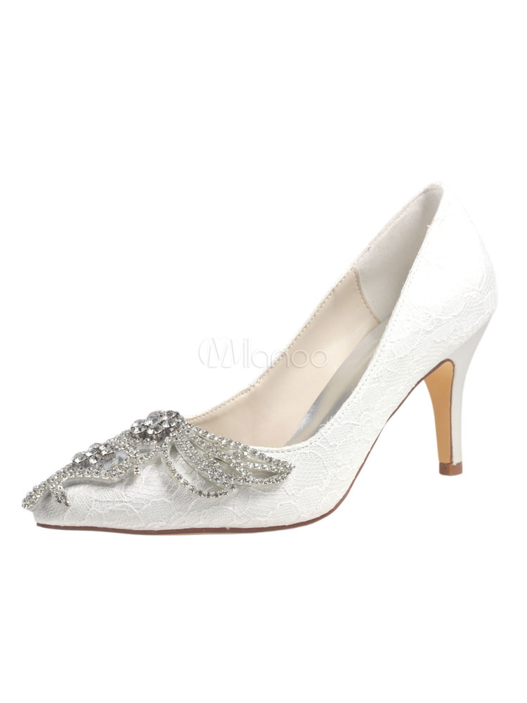 Ivory Wedding Shoes Pointed Toe Crystal Lace Imitated Silk Stiletto Bride Pump Shoes