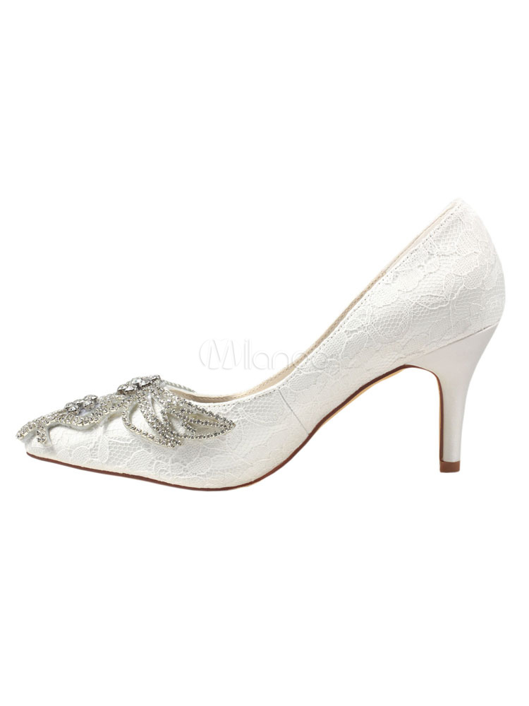 Zapatos de puntera puntiaguada de tacón de stiletto de encajede lujo Fiesta de bodas wbdFl