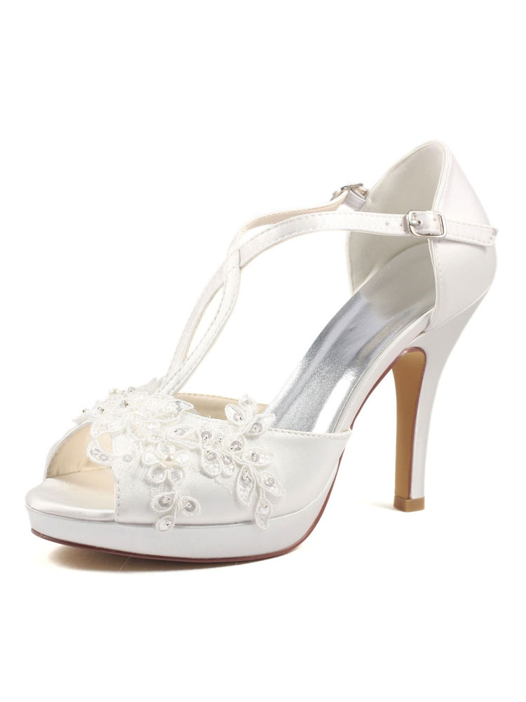Ivory Wedding Shoes Peep Toe Lace Imitated Silk Stiletto Bridal Pump Shoes