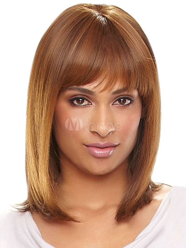 Human Hair Wigs Straight Layered Shoulder Length Women's Brown Wigs With Bangs Cheap clothes, free shipping worldwide