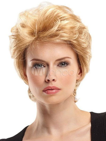 Buy Short Blonde Wigs Tousled Layered Natural Wave Women's Boycuts Human Hair Wigs for $35.99 in Milanoo store
