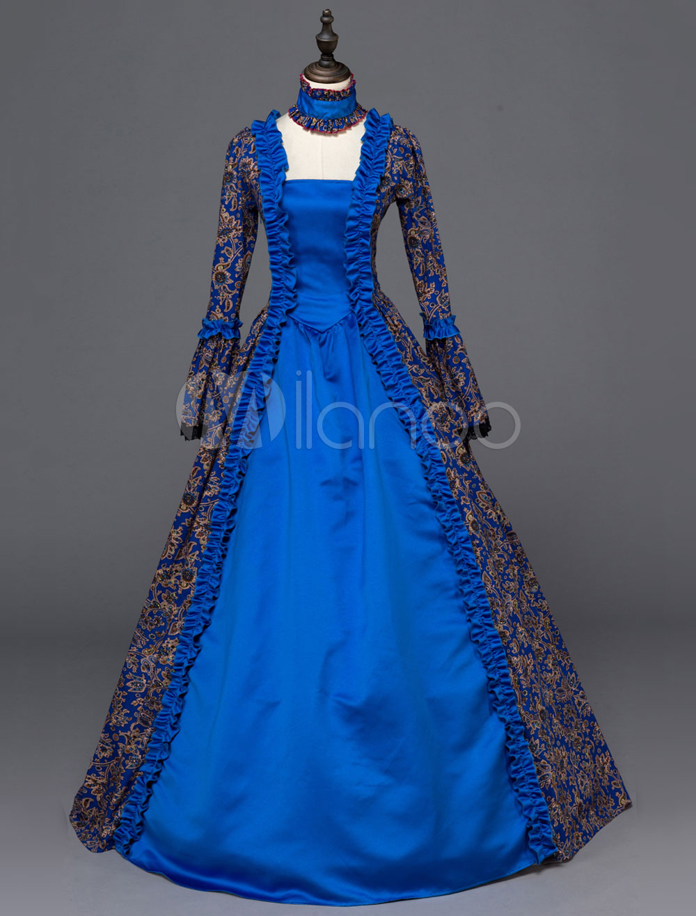 Buy Women's Gothic Costume Royal Blue Lace Up Ruffles Square Neck Long Sleeve Patchwork Royal Long Dresses Halloween for $149.99 in Milanoo store