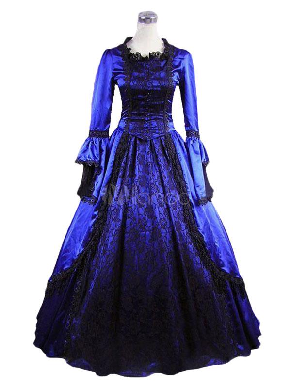 Vestido de retro para adultos Era victoriana Real para fiesta azul ...