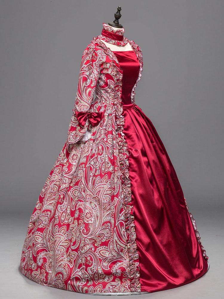 Vestido clásico para adultos Estilo europeo Real para fiesta rojo ...