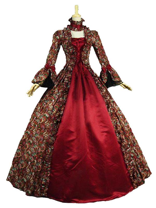 Longues Impression Pour Costume Coton Baroque Manches Vintage En x7PPwqXp