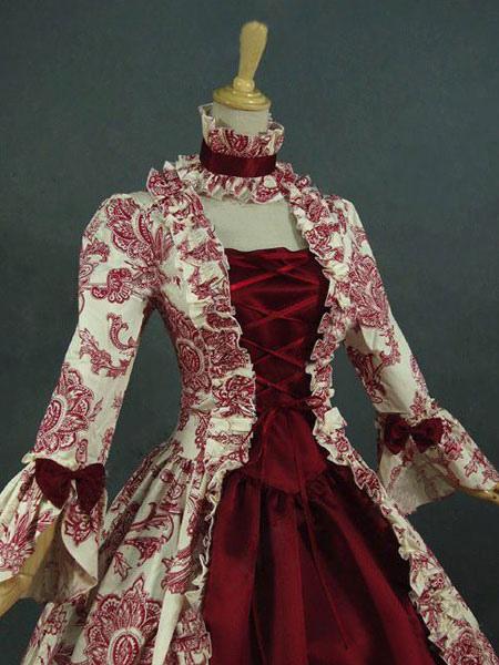 Barocco Scuro Rosso Carnevale Costume Floreali Increspature Di Pizzo hCdtsQr
