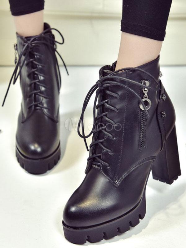 Botines de PU negros Color liso estilo moderno gyeICtd