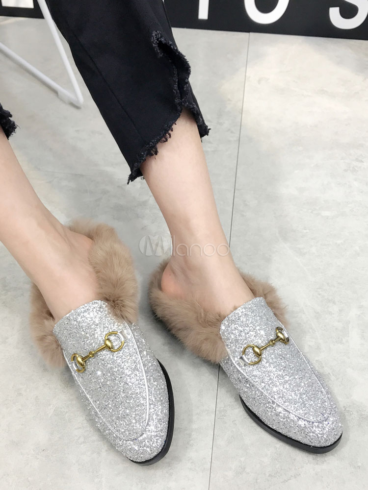 Glitter Mule Loafers Silver Round Toe Metal Fur Detail Backless Mules