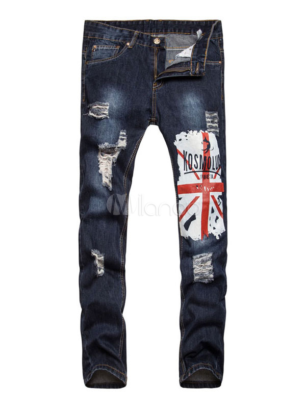 Buy Blue Denim Jeans Men's Printed Straight Leg Ripped Jeans for $29.69 in Milanoo store