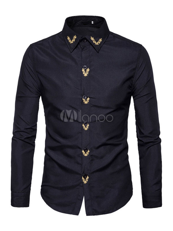 Black Casual Shirts Turndown Collar Long Sleeve Embroidered Regular Fit Cotton Shirt