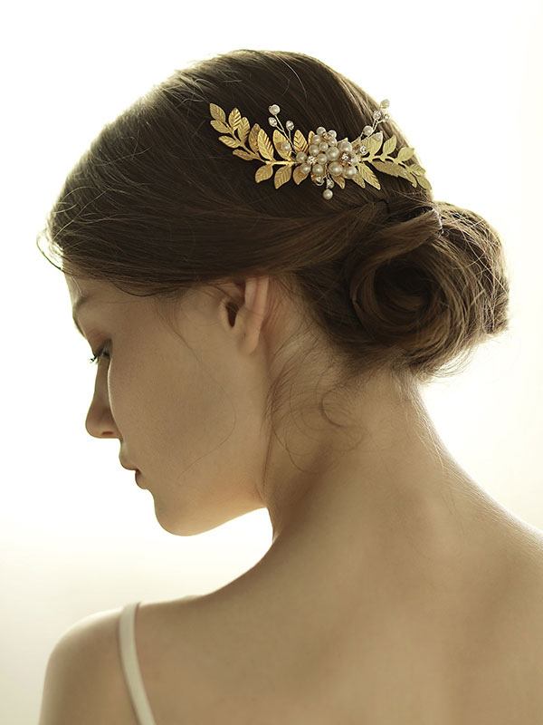 Comb Wedding Headpieces Gold Leaf Pearls Alloy Bridal Hair Accessories
