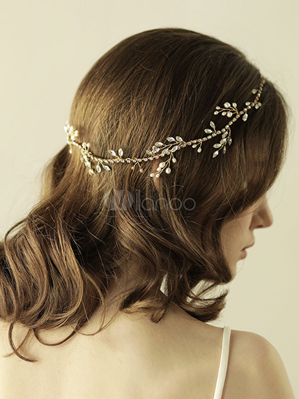 Buy Gold Leaf Wedding Headpieces Pearls Beading Headband Bridal Hair Accessories for $24.29 in Milanoo store