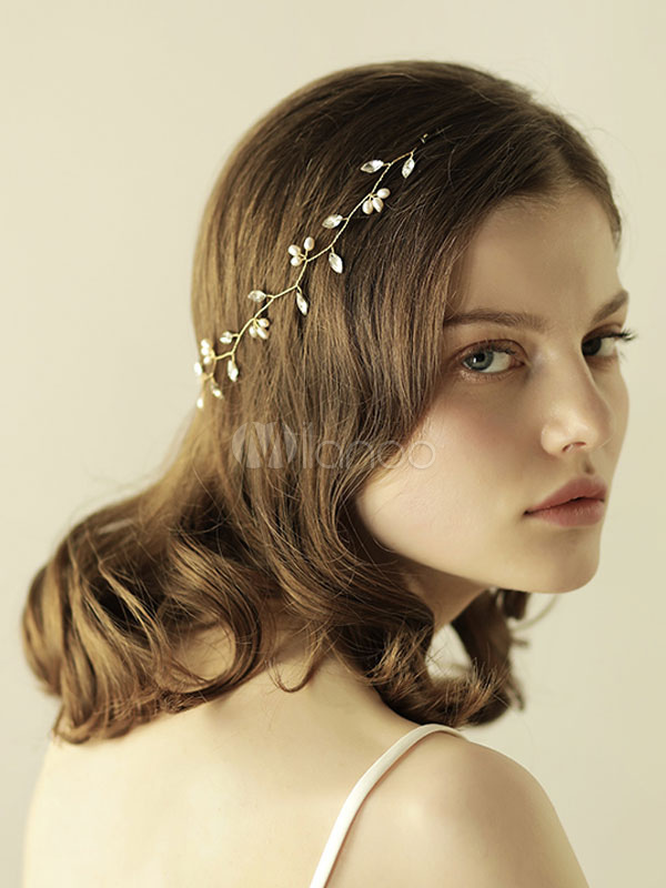 Buy Gold Wedding Headpieces Leaf Headband Pearls Rhinestones Bridal Hair Accessories for $12.34 in Milanoo store