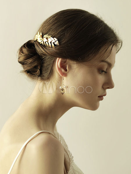 Gold Wedding Comb Headpieces Leaf Alloy Bridal Hair Accessories