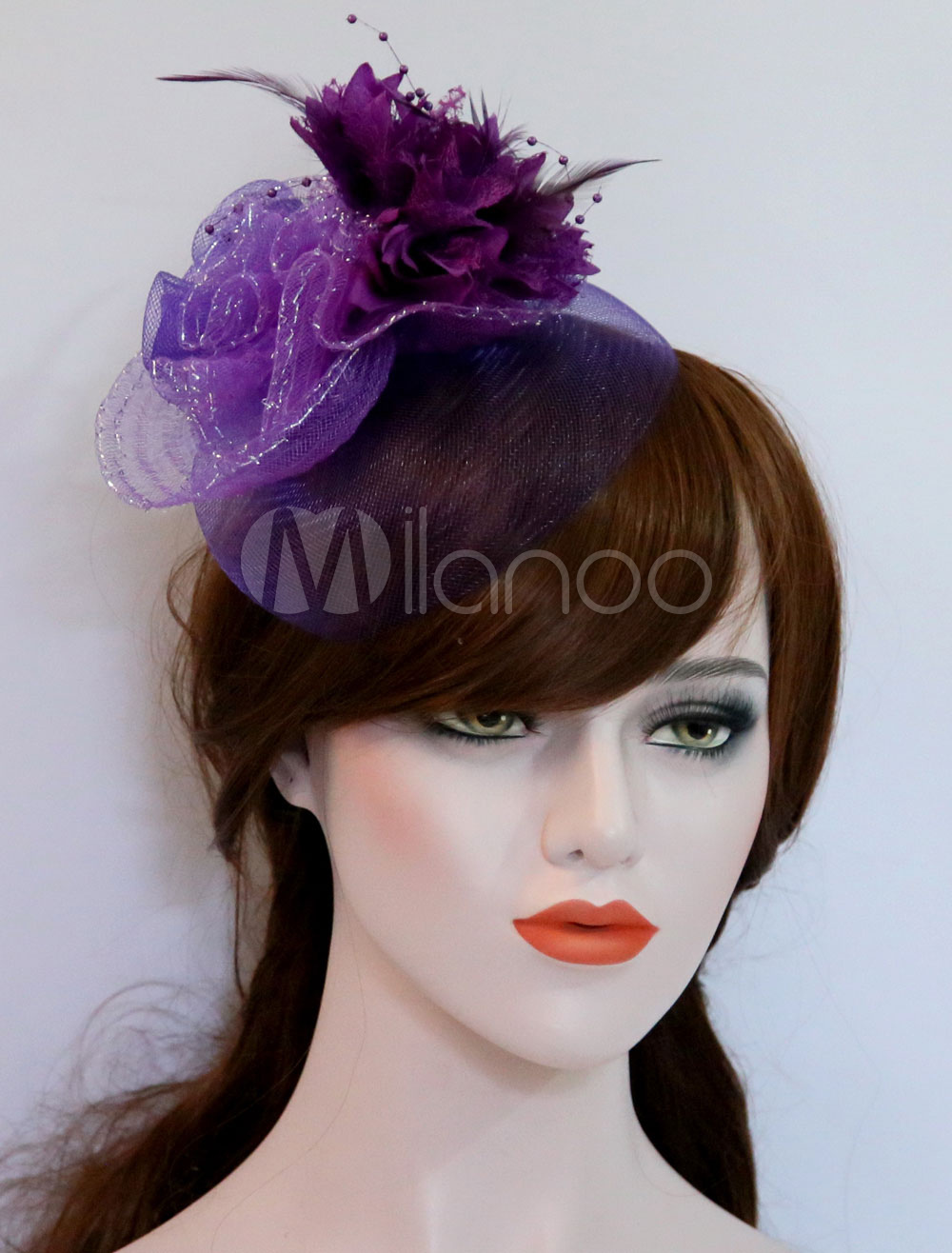 Tulle Fascinator Hat Purple Bridal Feathers Silk Flower Royal Vintage  Wedding Headpieces-No.1 ... bb0ffeaf925