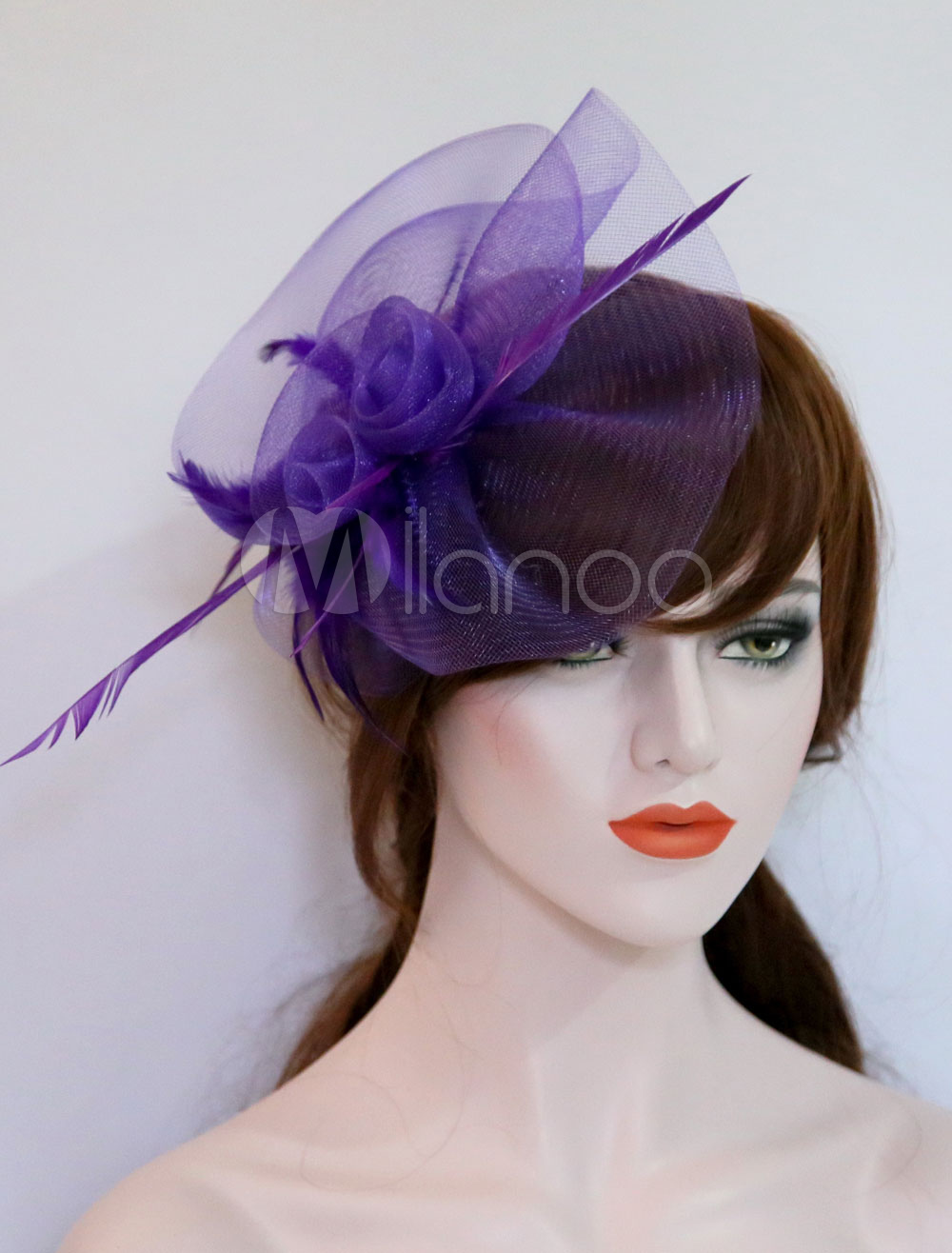 Purple Fascinator Hat Wedding Tulle Feathers Royal Vintage Bridal Headpieces