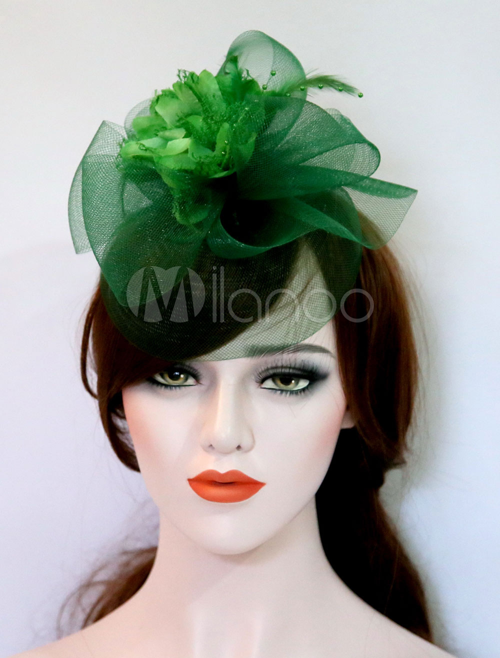 ... Wedding Fascinator Hat Dark Green Silk Flower Tulle Royal Vintage Bridal  Headpieces-No.2 ... bdfbd8cc30d