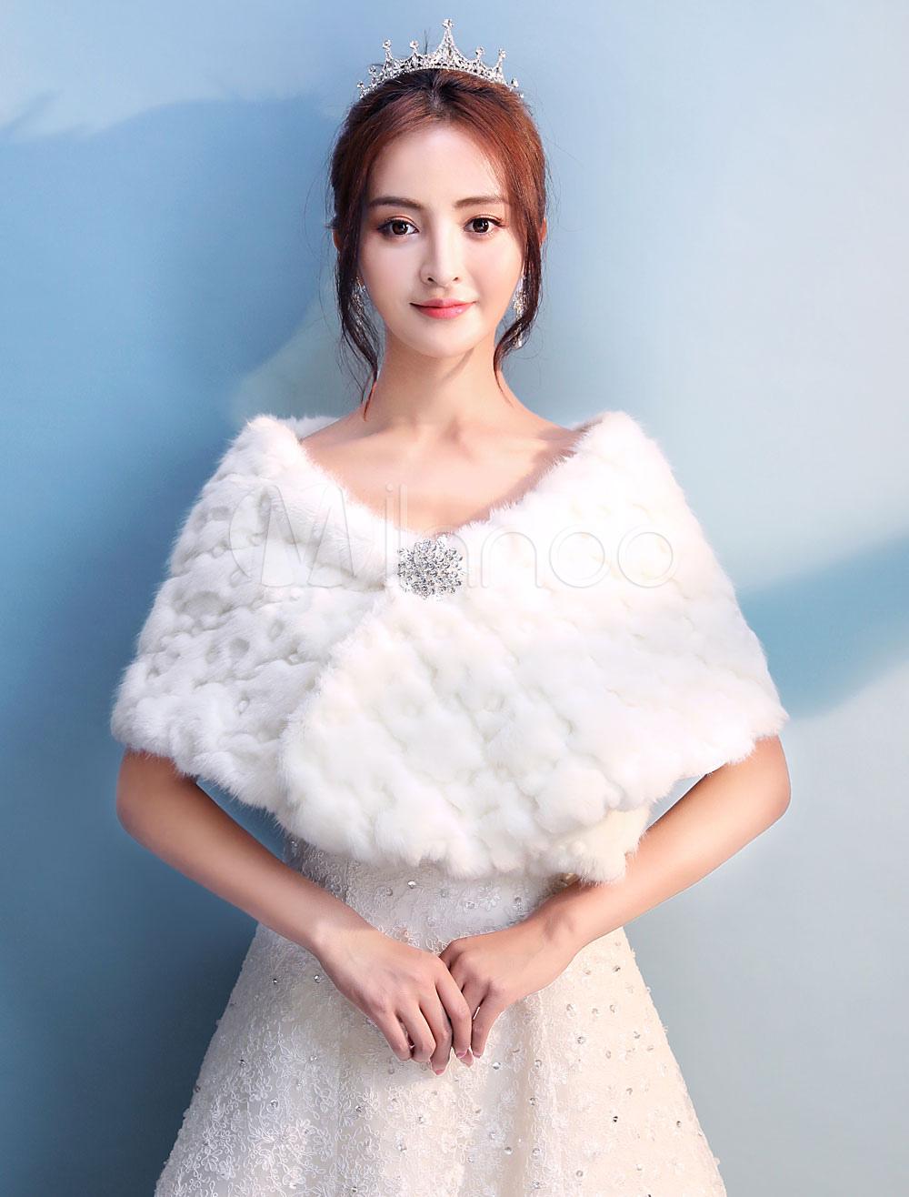 Ivory Wedding Shawl Faux Fur Stole Bridal Bolero Jacket