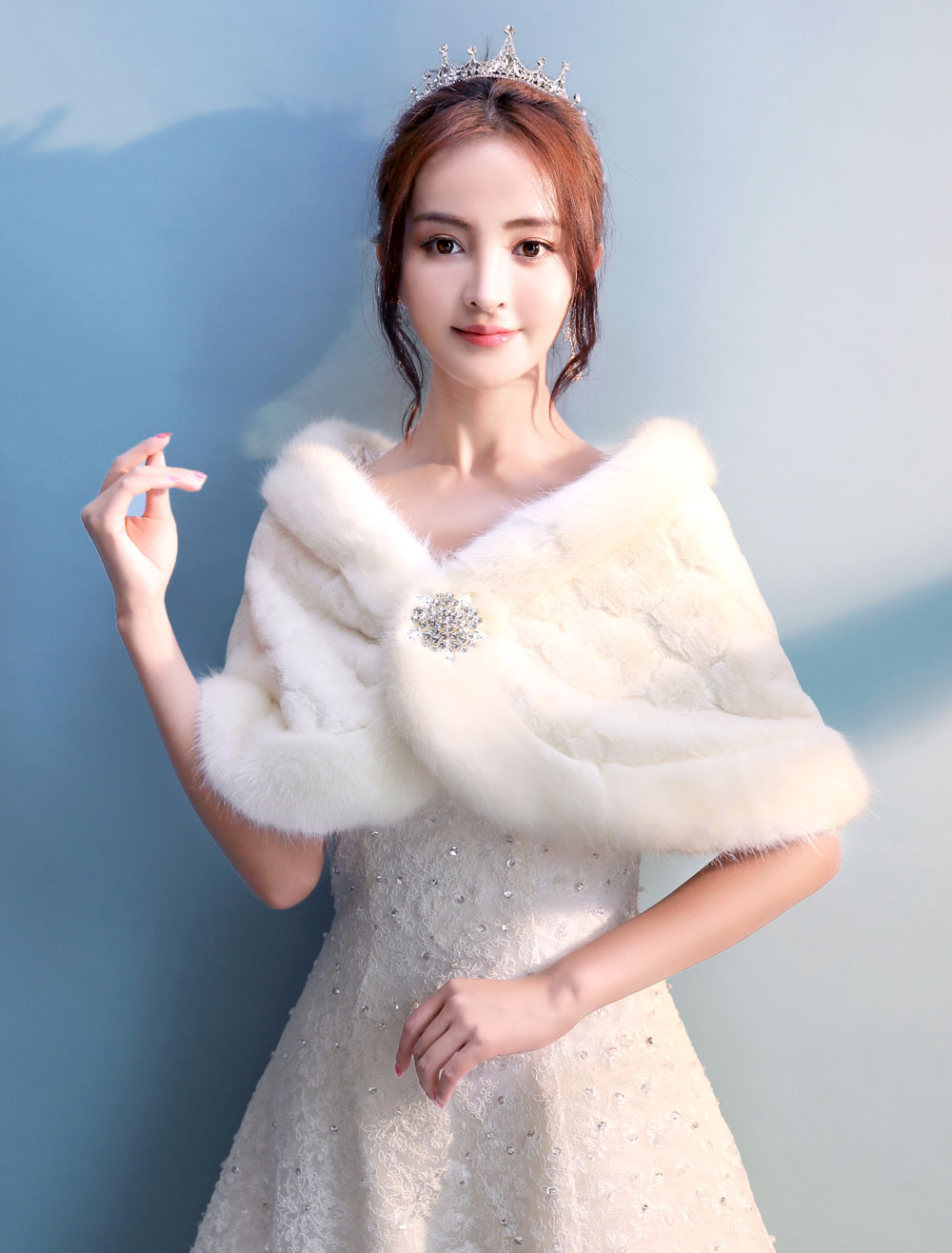 Buy Faux Fur Wedding Shawl Ivory Bolero Jacket Bridal Stole Tops for $26.09 in Milanoo store