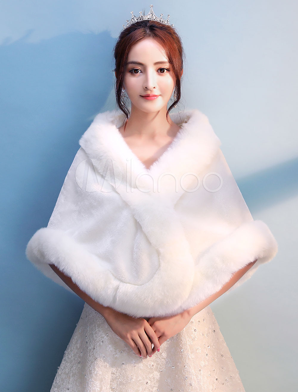 Ivory Wedding Shawl Faux Fur Stole Bridal Bolero Jacket Party Cover Ups