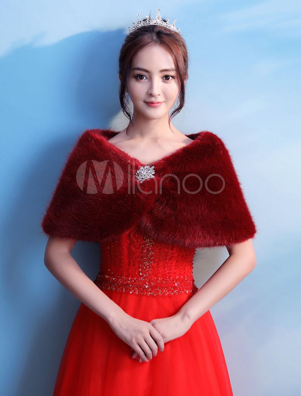 Burgundy Fur Stole Wedding Jacket Bolero Bridal Tops Party Cover Ups