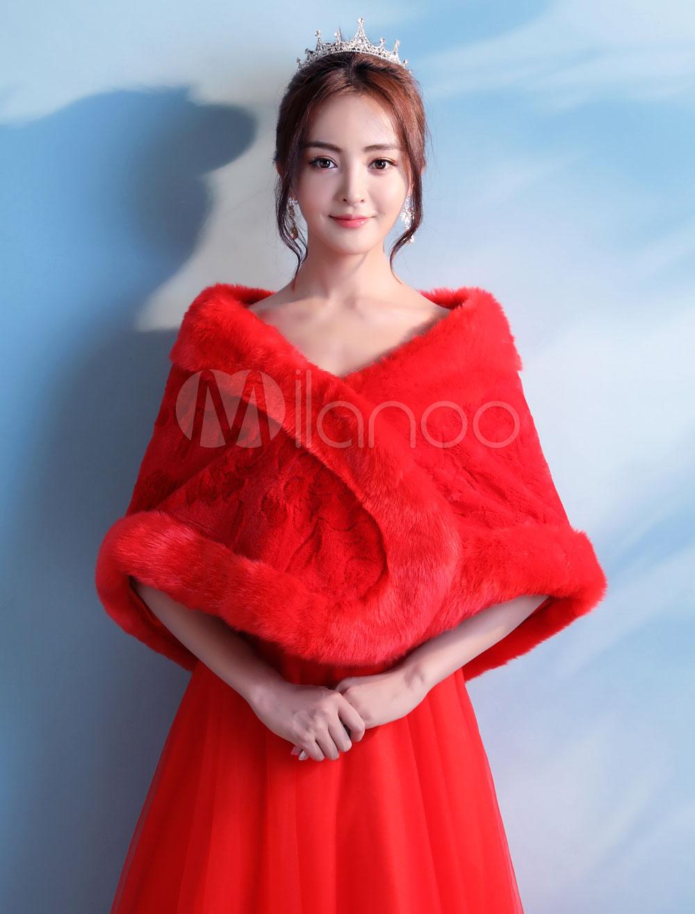 Faux Fur Wedding Shawl Red Bolero Jacket Bridal Shrug Party Cover Upsno1: Red Bridal Wedding Dress Cover Ups At Websimilar.org