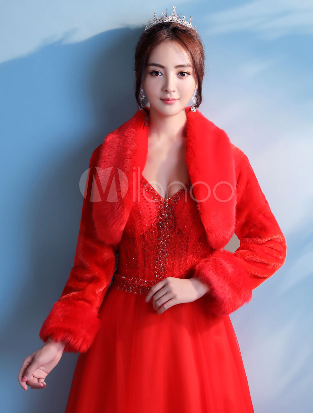 ef1dff10df4fa Wedding Bolero Jacket Faux Fur Red Long Sleeve Bridal Shrug Party Cover  Ups-No. 12. 32%OFF. Color:Red