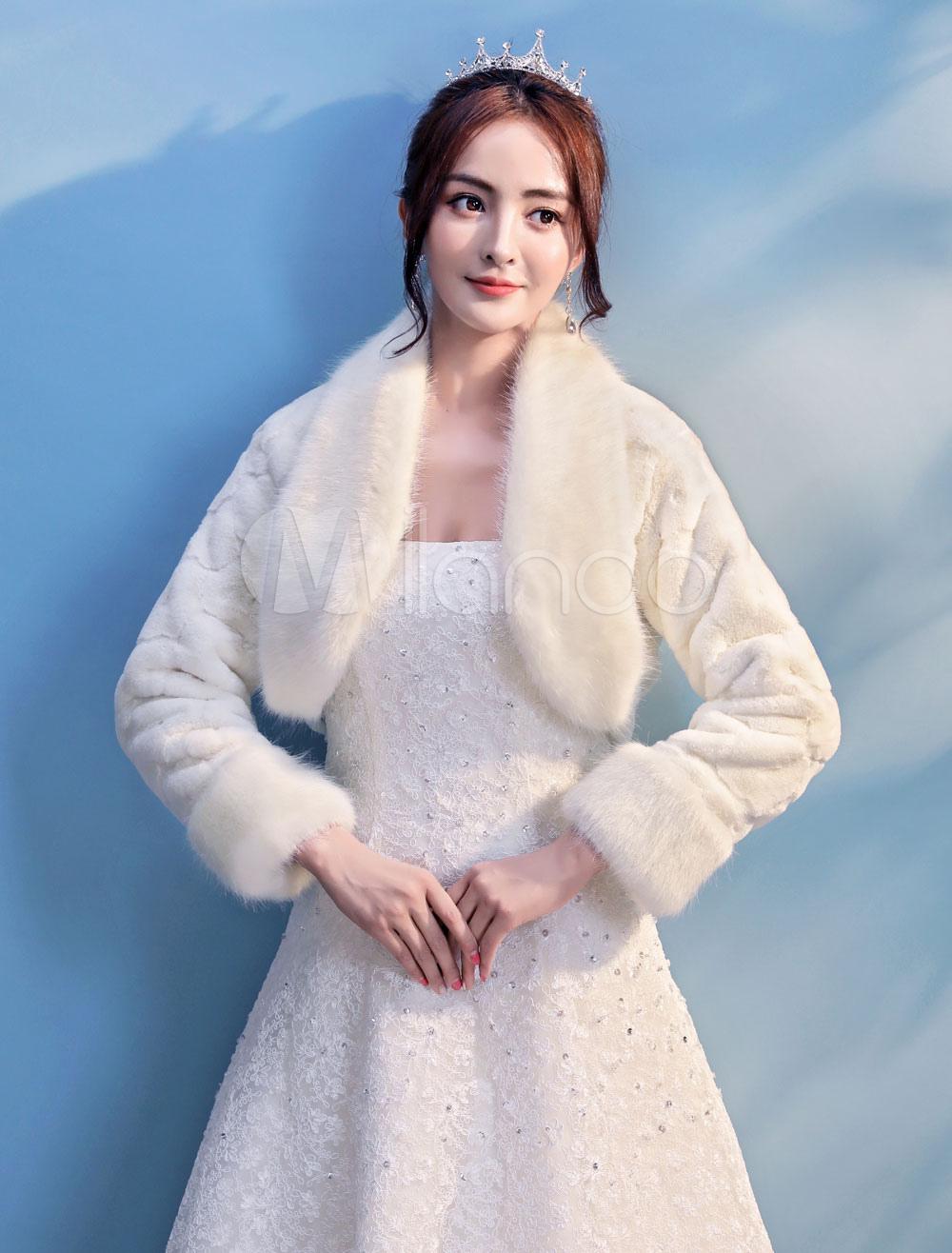 51ec68a64de70 Bolero Wedding Jacket Faux Fur Long Sleeve Bridal Shrug Tops Party Cover  Ups-No. 12. 32%OFF. Color:Ivory