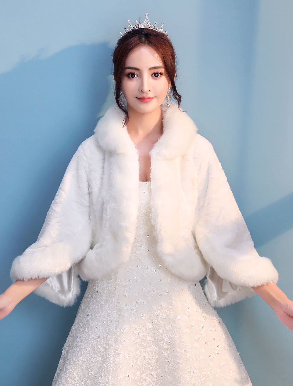 Wedding Bolero Jacket Faux Fur Long Sleeve Ivory Bridal Shawl Party Cover Ups