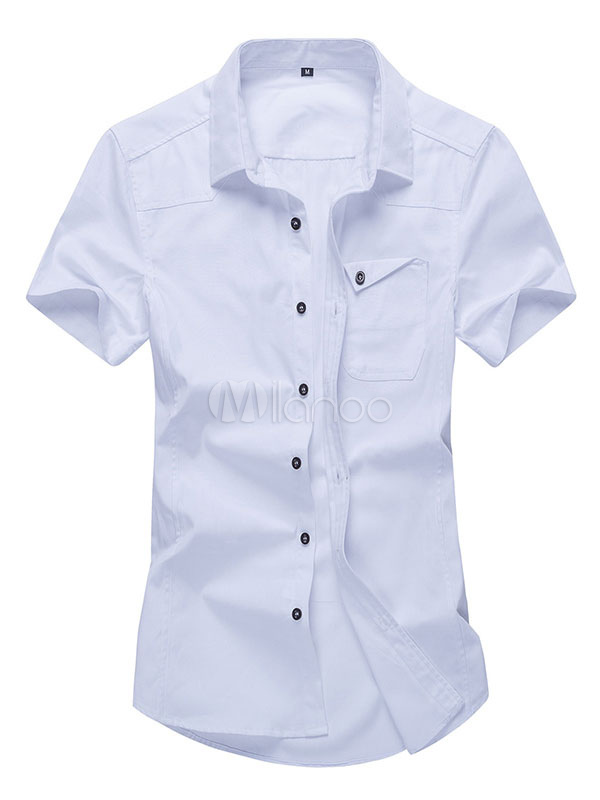 Buy Men's White Shirts Turndown Collar Short Sleeve Slim Fit Casual Shirt With Pockets for $17.99 in Milanoo store