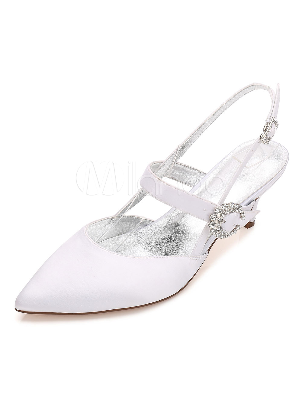 b5e391f3ba6 ... White Wedding Shoes Satin Pointed Toe Women s Rhinestones Slingbacks Kitten  Heel Pumps-No.10. 12. 40%OFF. Color White