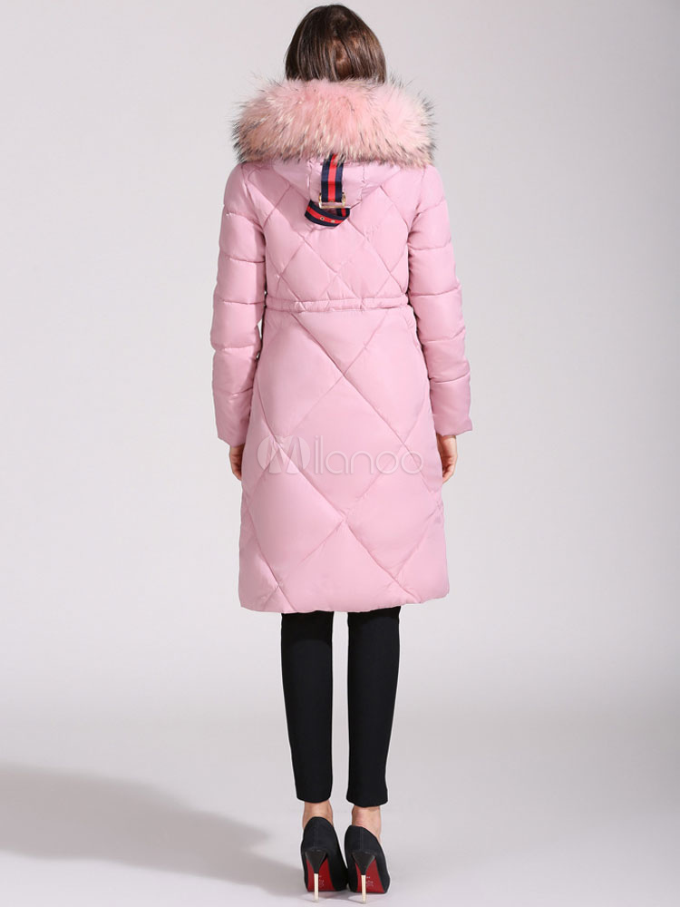 Pink Puffer Jacket Hooded Long Sleeve Faux Fur Collar Pom
