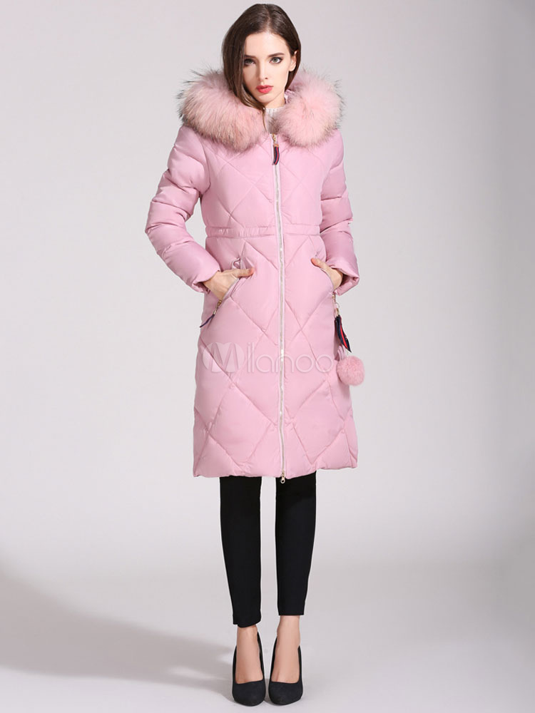 Pink Puffer Jacket Hooded Long Sleeve Faux Fur Collar Pom Poms Quilted Winter Coat For Women Cheap clothes, free shipping worldwide
