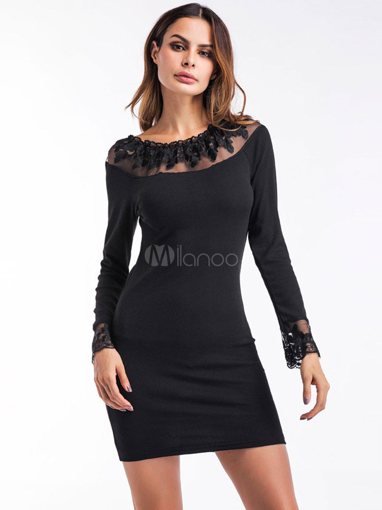 Buy Women Black Dress Casual Long Sleeves Dresses Spring Bodycon Lace Illusion Short Pencil Dress for $17.99 in Milanoo store