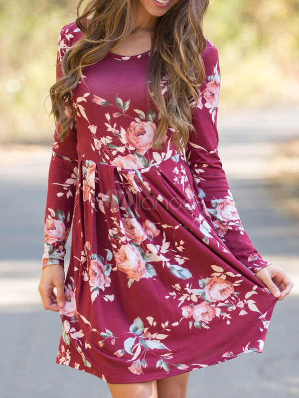 Buy Cotton Skater Dress Floral Print Round Neck Long Sleeve Pleated Women's Burgundy Flare Dress for $23.74 in Milanoo store