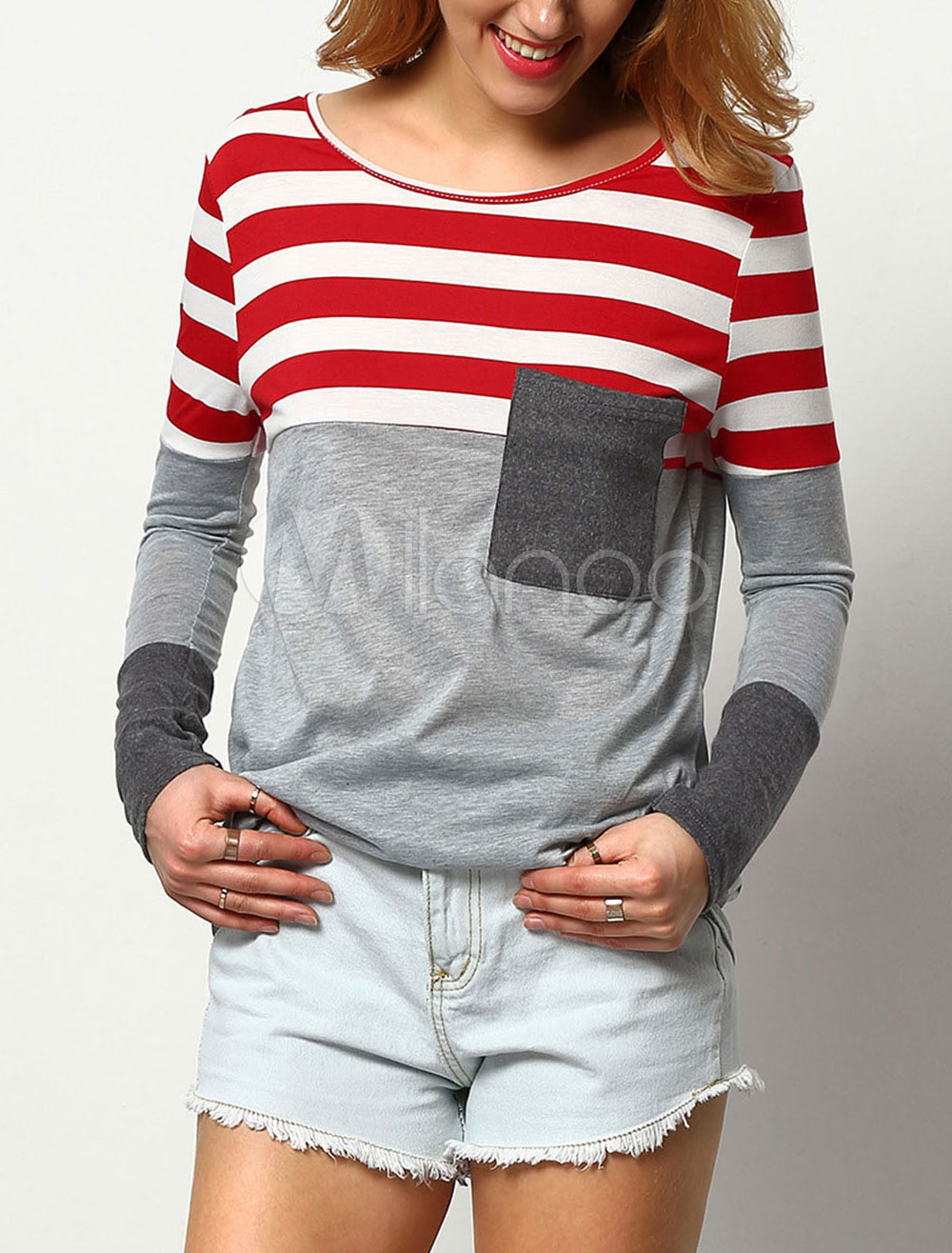 Buy Grey Cotton T Shirt Striped Patch Round Neck Long Sleeve Pockets Women's Casual Tee Top for $18.99 in Milanoo store