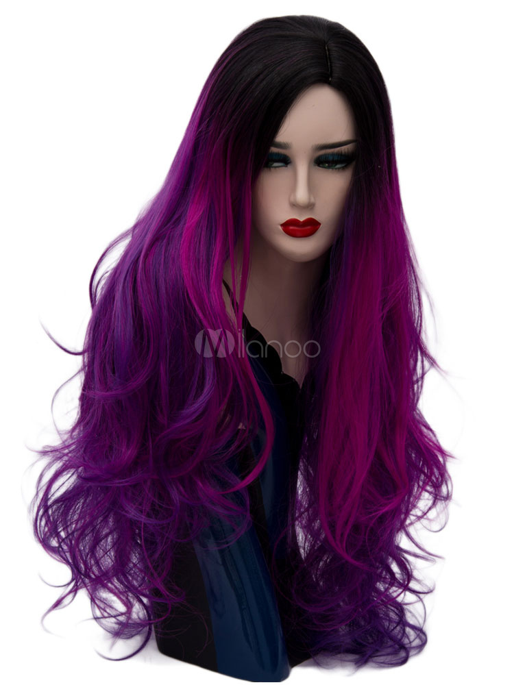 Buy Halloween Hair Wigs Women Carnival Wigs Fuchsia Highlighting Central Parting Long Tousled Natural Wave Synthetic Wigs for $22.49 in Milanoo store
