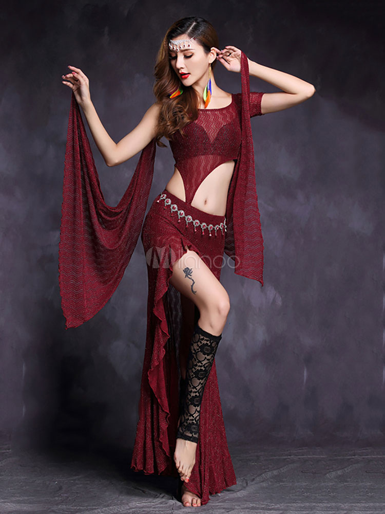 Belly Dance Costume Burgundy Illusion Cut Out Crop Top With Ruffles Rhinestones Asymmetrical Long Skirt For Women