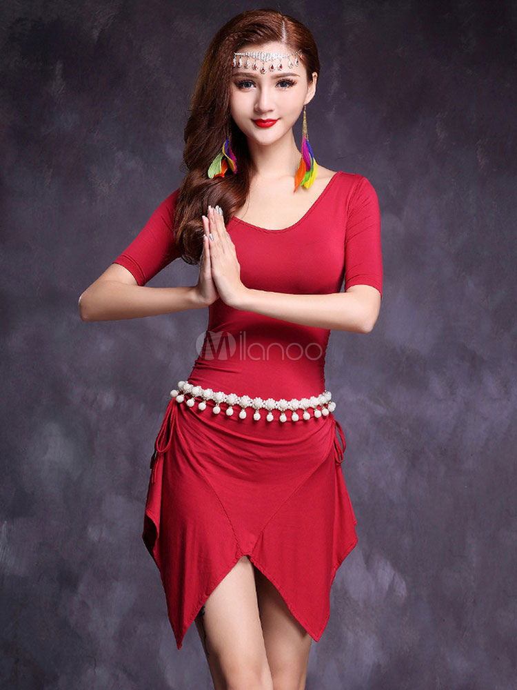 Belly Dance Costume V Neck Pearls Asymmetrical Short Dresses For Women