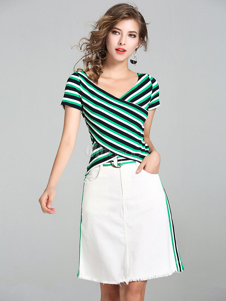 White Skirt Set Women s V Neck Short Sleeve Striped Top With Skirt ... 6c2b56f9e