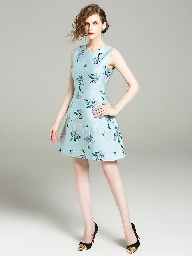 Vestido Plisado De Acetato Con Escote Redondo Sin Mangas Con Estampado De Flores Estilo Moderno