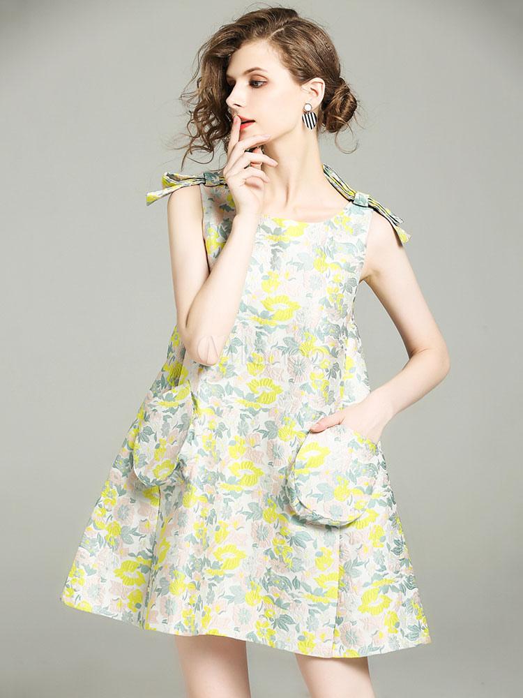 Buy Women's Skater Dress Round Neck Sleeveless Bows Printed Light Green Short Dresses for $47.49 in Milanoo store