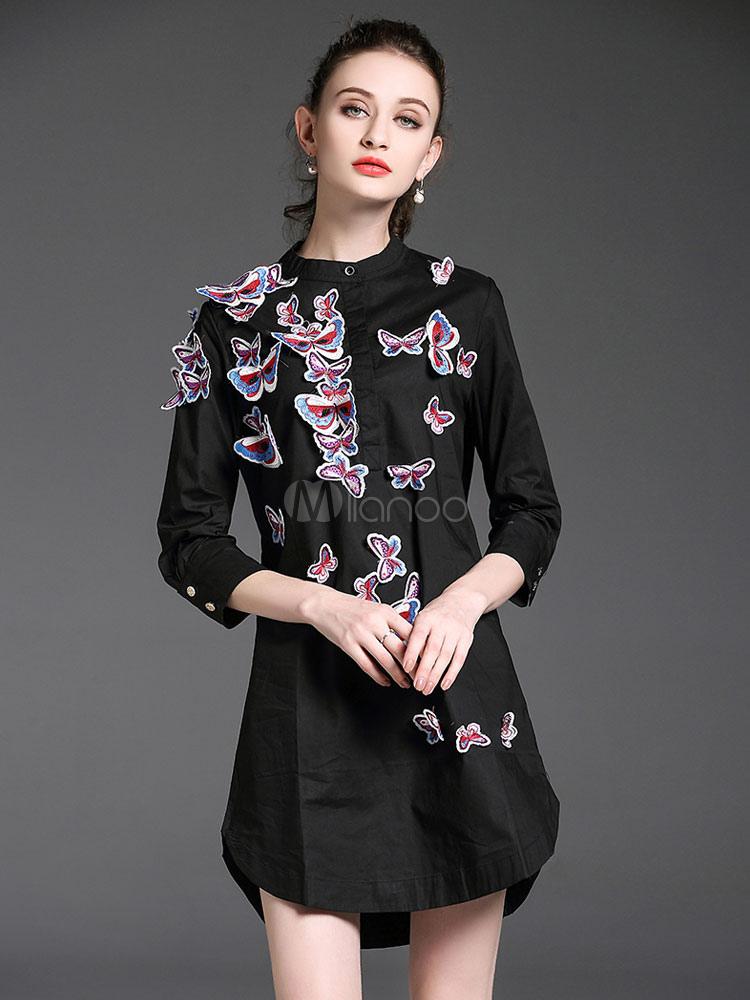 Robe chemise fabuleuse mode noire motif papillon avec papillon col ras du  cou vêtements journaliers ... 1bd6c117bdf5