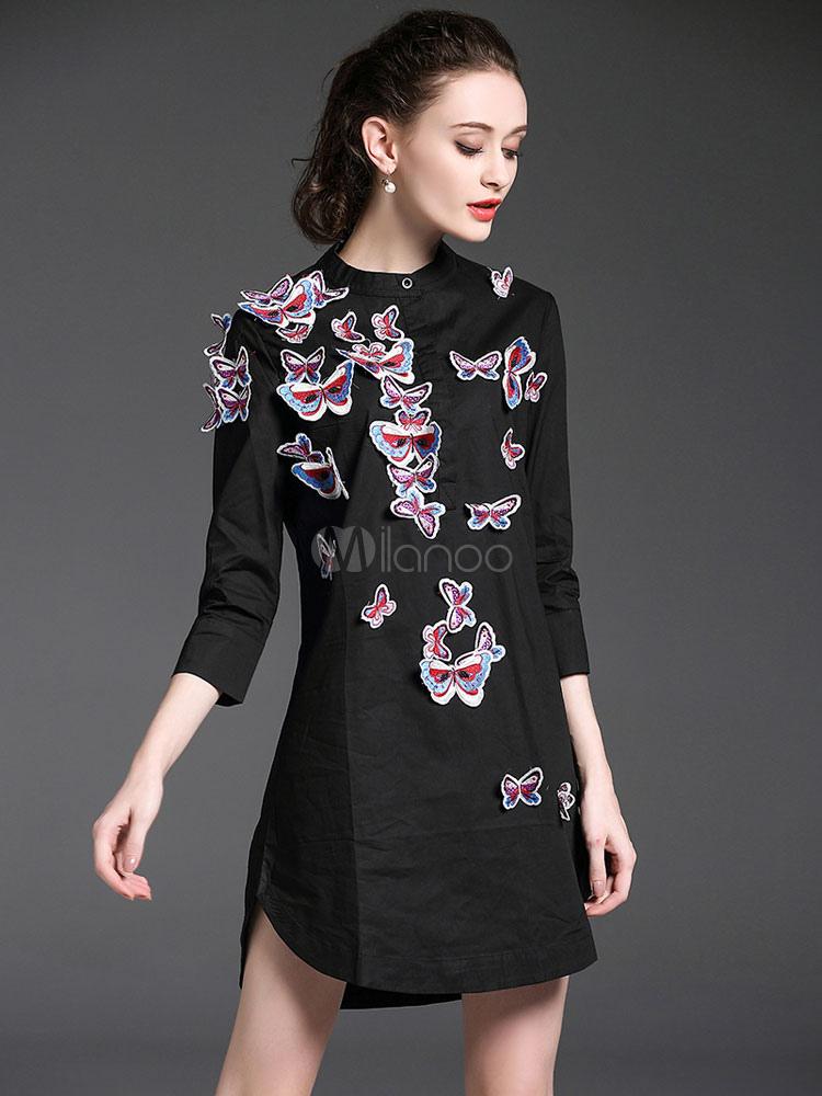 ... Robe chemise fabuleuse mode noire motif papillon avec papillon col ras  du cou vêtements journaliers ... e69f17cab775